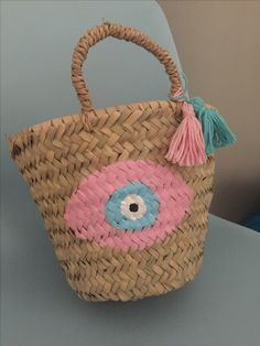 001459f2197 Handmade evileye straw basket by cottonprince.