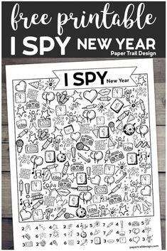 Free Printable New Year I Spy Activity – Paper Trail Design The I Spy New Year's game is a great way to celebrate with the kids. Print the I spy activity for free and use for an easy and fun family celebration. Kids New Years Eve, New Years Eve Games, New Years Party, New Year's Games, I Spy Games, Games For Kids, New Year's Eve Activities, Music Activities, Classroom Activities