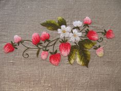 Tasty Strawberries hand embroidered on grey linen table runner