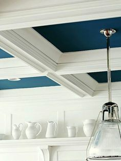 Improve Your Home: 30 Weekend Projects ceilings: coffered ceiling with colorful paint, ceiling medallion around light fixture Budget Remodel, House Design, Home Projects, Ceiling Decor, Remodel, Coffered Ceiling, Home Remodeling, Ceiling Design, Blue Ceilings