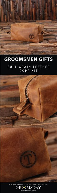 Hand-crafted from 100% genuine leather, this rugged dopp kit will stand the test of time and makes a perfect groomsmen gift or men's gift for any occasion.  Check out our huge selection of Groomsmen Gifts, Best Man Gifts, Groom accessories, Gifts for Men, Birthday Gifts, Father of the Bride Gifts, Father's Day Gifts, Anniversary Gifts, Monogrammed Gifts, Valentines Gifts, Sports & Golf Gifts & More! Share & Repin! Only from Groomsday || Groomsday.com #toiletrybag #doppkit #groomsmen…