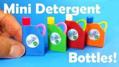 DIY Miniature Laundry Detergent Bottles (Holds Liquid!) - Dollhouse DIY