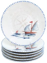 Sailboat Dinner Plates - Set of 6