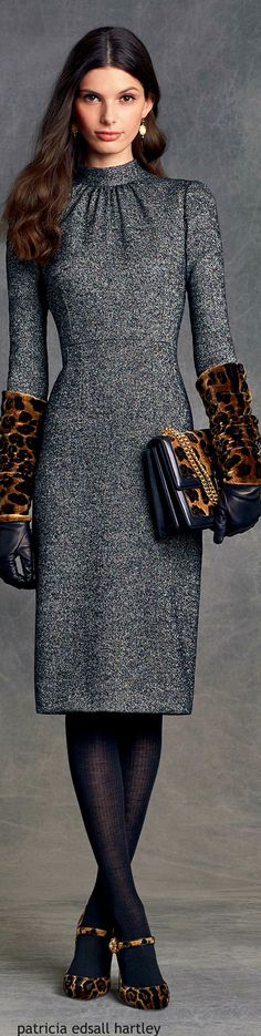 Dolce & Gabbana - Winter 2016 gray midi sheath dress with leopard print accessories and shoes
