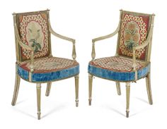 A PAIR OF GEORGE III CREAM-PAINTED AND PARCEL-GILT ARMCHAIRS POSSIBLY BY ALEXANDRE LOUIS DELABRIERE, AFTER A DESIGN BY HENRY HOLLAND, CIRCA 1790