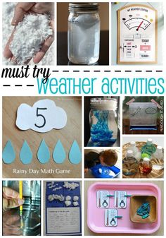 Must-try weather activities for kids. Fun ways to learn about clouds, snow, temperature. lots of things. Great for a weather unit! Weather Activities for Kids Weather Experiments, Weather Science, Weather Unit, Weather And Climate, Science Experiments Kids, Science For Kids, Science Projects, Learn Science, Art Projects