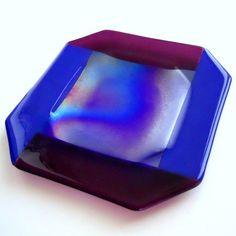 Purple and Royal Blue Fused Glass Plate, 11 Inch Handmade Platter OOAK   ResetarGlassArt - Glass on ArtFire