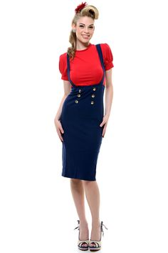 50er Retro pin up Rockabilly High Waisted Uniform Caprihose CAPRI ...