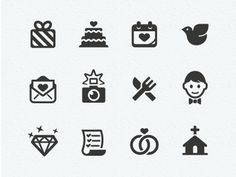 Wedding Icons | http://dribbble.com/shots/556288-Wedding-Icons
