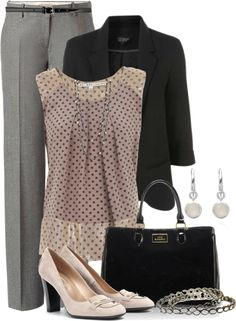 """""""Work Wear - Taupe & Moonstone"""" by brendariley-1 on Polyvore"""