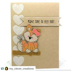 How darling is this Foxy card?, Loving the kraft paper!  #OutFoxed #AJillianVanceDesign #clearstamps #dies #cardmaking #cre8time  #Repost @my_clever_creations ・・・ Yay today I am on the @ajillianvancedesign playing with @whimsiedoodles Out Foxed. Link in profile.  #myclevercreations #cardmakinghobby #cardmaking #cards #fox #kraft
