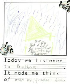 Listening to Beethoven I almost forgot that I had scanned these to share with you!  A few weeks ago we listened to Moonlight Sonata by Beethoven.  First graders discussed tempo, mood and dynamics and then created these written/drawn responses.