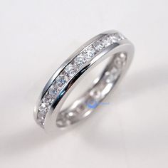 Eternity Wedding Band Women's Rings Channel Set CZ Sterling Silver
