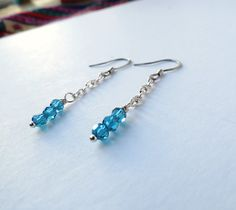 Sea Blue Drop Earrings  Minimalist Jewerly  by MagnificentMouse