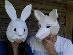 You are buying the templates with simple instructions to make your own RABBIT paper mask from cardboard. They are supplied as PDF and available as an instant download. Just print the templates on US Letter paper or A4, glue them to the cardboard, cut them out , fold the dashed lines, match the numbers and tape the parts together with some tape.  These templates are plain but you can use your imagination to decorate the finished mask however you like.  These designs are Green Minded Wolfs…