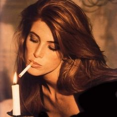"""Angie Everhart """"Troublantes Indiscretions"""", Elle France, March 1992 Photographed by Stephane Coutelle everhart, Angie Everhart, Stephanie Seymour, Girl Smoking, Celebrity Photos, Supermodels, Find Image, Wonder Woman, Smoke, Actresses"""