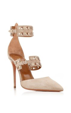 Beige Suede Rockstar Pumps by Aquazzura Now Available on Moda Operandi