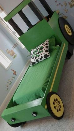 We could make this tractor bed Nursery Room, Boy Room, Kids Bedroom, John Deere Bedroom, Tractor Room, Creative Kids Rooms, Kid Beds, Kids Furniture, Room Themes