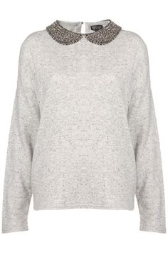 Grey beaded collar jumper, topshop