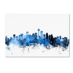Michael Tompsett 'Seattle Washington Skyline II' Wall Art