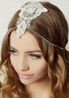 Art Deco beaded french lace headpiece