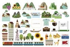 Illustration map for tourism
