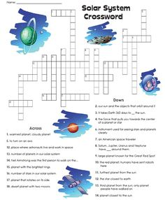 Check out our Solar System Crossword Puzzle! Read the clues and write the names of planets and other solar system words in the puzzle.