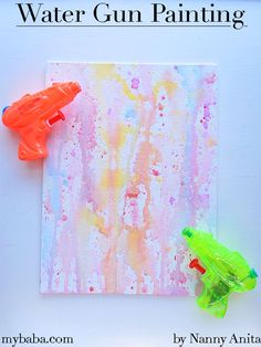 Summertime is the perfect time to take the arts and crafts outside. We have been having lots of fun with this water gun painting craft. Crafts To Do, Easy Crafts, Crafts For Kids, Arts And Crafts, Outside Activities, Toddler Activities, Diy Fidget Spinner, Painting Apron, Fun Things
