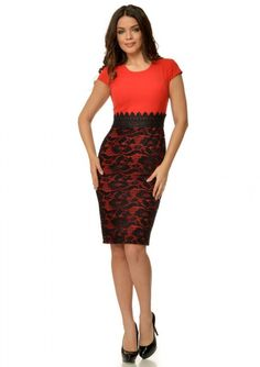 Rochie rosie cu dantela neagra aplicata