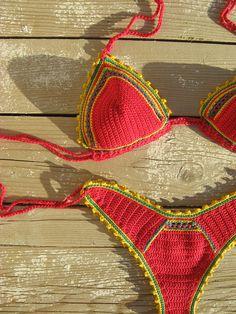 high hip brazilian crochet bikini set Red with Yellow Green Crochet swimwear Crochet beachwear Boho bikini Rasta bikini Triangle bikini Crochet Bikini Pattern, Crochet Halter Tops, Crochet Lace, Mode Crochet, Crochet For Kids, Triangle Bikini, Crochet Designs, Crochet Clothes, Bikini Set