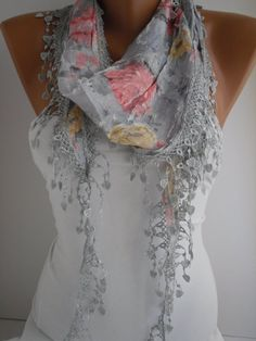 Light Gray Floral Shawl Scarf  Headband with Lace Edge  by DIDUCI, $15.50