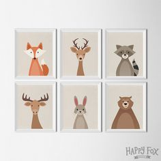Woodland Animal set, art printables, nursery Decor, fox bear raccoon deer animal nursery art illustration prints, nursery prints kids room