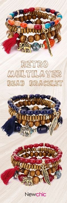 [Newchic Online Shopping] 49%OFF Retro Multilayer Bead Bracelet