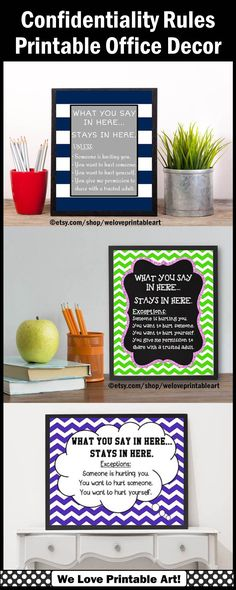 These printable school counselor confidentiality signs are perfect for your back to school office decor.