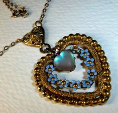Victorian Art Nouveau SAPHIRET HEART and Forget Me Not Enamel Flowers Necklace | eBay