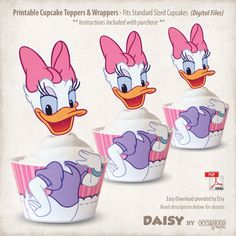 Printable Daisy Duck Cupcake Toppers and by OccasionsByMarjae Mickey Mouse Clubhouse, Daisy Duck Party, Daisy Duck Cake, Donald Duck Party, Duck Cupcakes, Motto, Minnie Mouse Pink, Office Prints, 2nd Birthday