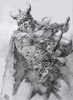 Viking warrior~ Myth: Vikings were dirty and unkempt - In reality, the Vikings were quite vain about their appearance. Viking Battle, Viking Men, Viking Life, Norse Tattoo, Viking Tattoos, Armor Tattoo, Alfabeto Viking, Viking Drawings, Ink Drawings