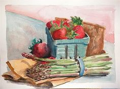 """Still Life with Strawberries and Asparagus"" (11""X14"" by MICHAEL DEAN"