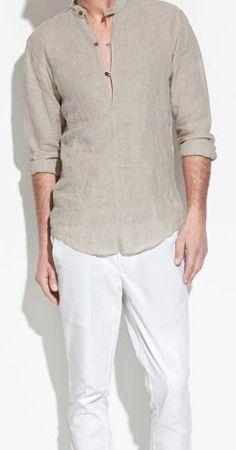 4f34ead5c22 M Special zara genuine purchasing Men stand collar linen shirt domestic spot