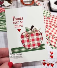 Thank you notecard with cute gingham apple from the Harvest Hellos set stamped on Toile Tidings gingham paper by Patty Bennett Teacher Thank You Cards, Thank You Note Cards, Teacher Notes, Card Making Tips, Making Ideas, Thanks Greetings, Printable Calendar Template, Kids Calendar, Card Envelopes