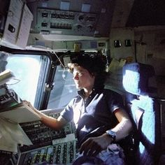 Sally Ride, the first American woman in space, died Monday of pancreatic cancer. She's pictured here riding on the flight deck of the Space Shuttle Columbia in 1983. The physicist, author and professor was an inspiration to us all. (Photo: AP and NASA)