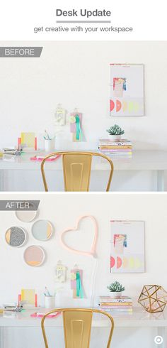 Turn an everyday workspace into an awesomely styled area with Oh Joy! for Target. The neon LED heart paired with colorful small plates (use Velcro picture-hanging strips!) will effortlessly pull together a fresh take on the gallery wall. Another idea: Tuck the Oh Joy! firefly lights into a small glass terrarium or geometric sculpture to add a moment of whimsy to a corner of your desk.