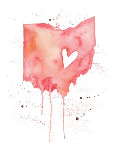or - Ohio Love / Watercolor Map Print / Wedding Gift / Anniversary Gift / Moving Gift / Travel / Wanderlust / USA / Midwest The Buckeye State, Ohio State Buckeyes, College Football, Ohio Tattoo, Ohio State Tattoos, Ohio Is For Lovers, Hawthorne Heights, Heart Location, Watercolor Map