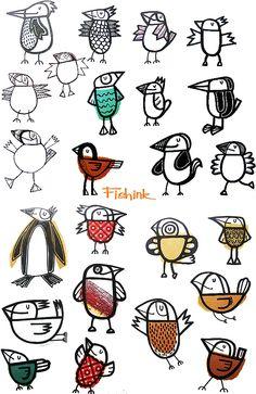 A Splash of the unusual through textiles, photography and illustration. Zen Doodle, Doodle Art, Drawing For Kids, Bird Art, Nature Journal, Art Lessons, Bunt, Painting Prints, Illustrators
