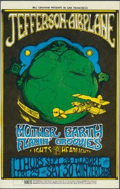 Jefferson Airplane Fillmore Classic rock music concert poster psychedelic ☮ ☮❥Hippie Style❥☮☮