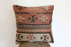 Kilim Pillow Anatolian Wool Pillows Throw pillow by SeCLara Wool Pillows, Throw Pillows, Patchwork Pillow, Geometric Pillow, Decorative Pillows, Rugs, Unique Jewelry, Creative, Handmade Gifts