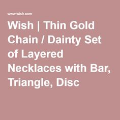 Wish | Thin Gold Chain / Dainty Set of Layered Necklaces with Bar, Triangle, Disc