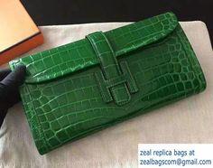 Hermes Jige Elan 29 Clutch Bag in Croco Pattern Leather Green