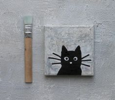 Pop Art, Black Cat Painting, Collage, Encaustic Painting, Contemporary Art, Clock, Abstract, Etsy, Image