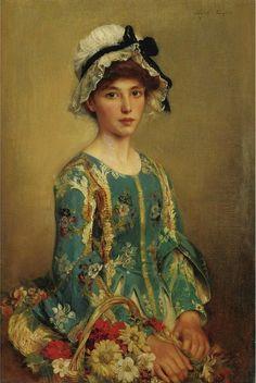 """Albert Lynch (Peruvian painter) 1851 - 1900 Albert Lynch """"The Flower Girl"""""""